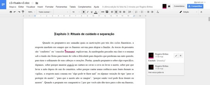 Caixa para aceitar o recusar sugestão de edição no Google Docs (Foto: Reprodução/Raquel Freire)