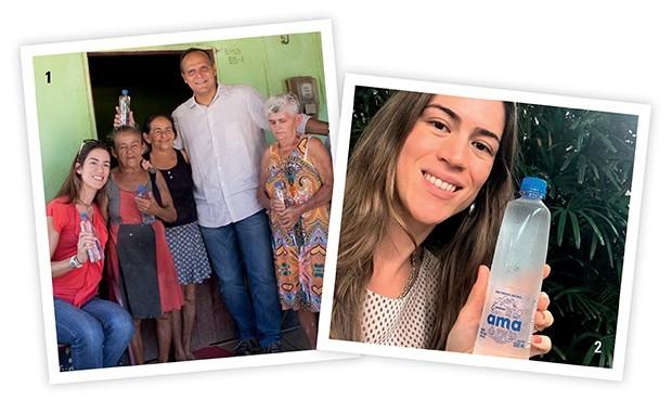 """1. Com o presidente da Ambev, em uma das comunidades do Ceará ajudadas pela AMA, em junho deste ano 2. Carla e a água que, como ela diz, """"transformou a minha vida e a de tantas outras pessoas"""". (Foto: Divulgação)"""
