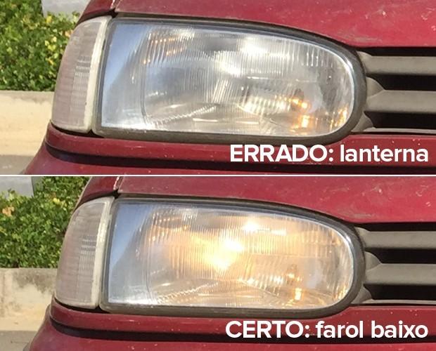 Lanterna tem a luz mais fraca e não é a correta; o certo é o farol baixo (Foto: Rafael Miotto/ G1)