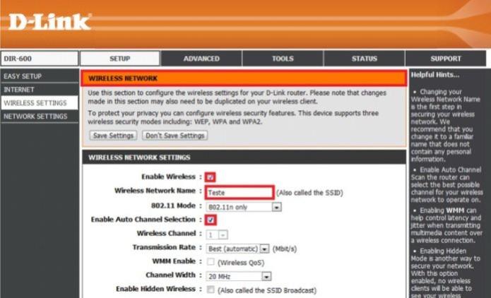 Configure a rede sem fio do roteador (Foto: Reprodução/D-Link) (Foto: Configure a rede sem fio do roteador (Foto: Reprodução/D-Link))