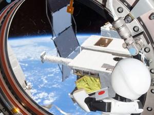 Kirobo olha na direção da Terra em ISS. (Foto: AFP Photo)