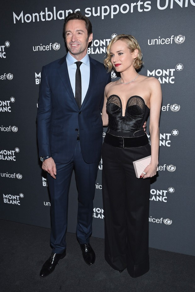 Hugh Jackman e Diane Kruger em evento beneficente em Nova York, nos Estados Unidos (Foto: Dimitrios Kambouris/ Getty Images/ AFP)