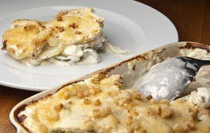 Bacalhau gratinado com cream cheese e queijo parmesão