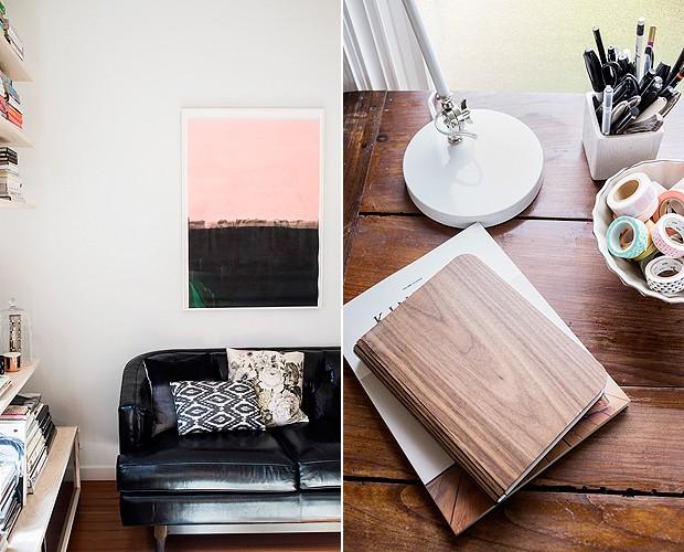 À esq., o sofá de estilo moderno. À dir., detalhe do escritório (Foto: Divulgação/Cindy Loughridge)
