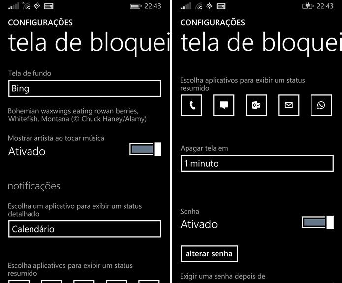 Windows Phone pode ter tela de bloqueio personalizada pelas configurações do sistema ou aplicativos (Foto: Reprodução/Elson de Souza)
