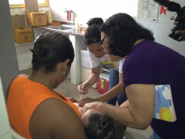 Abertura da campanha de vacinação em Teresina. (Foto: Gilcilene Araújo/G1)