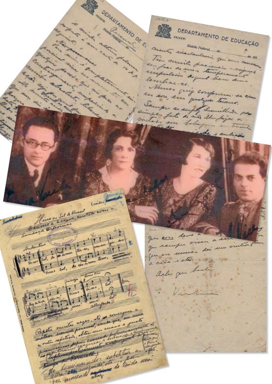 A PRIMEIRA Lucília Guimarães (primeira à esq.) com Villa-Lobos (à dir.) numa foto de 1931. Ao lado, reproduções da carta em que o maestro pediu o divórcio e de uma partitura com a letra de Lucília  (Foto: Divulgação )