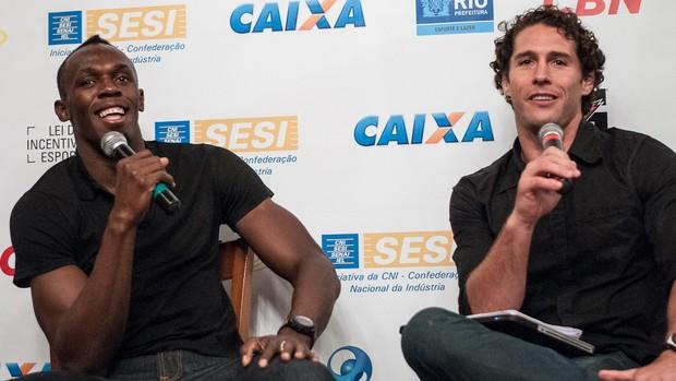 Usain Bolt e Flavio Canto, na Porcão (Foto: Thiago Diz / Mano a Mano)