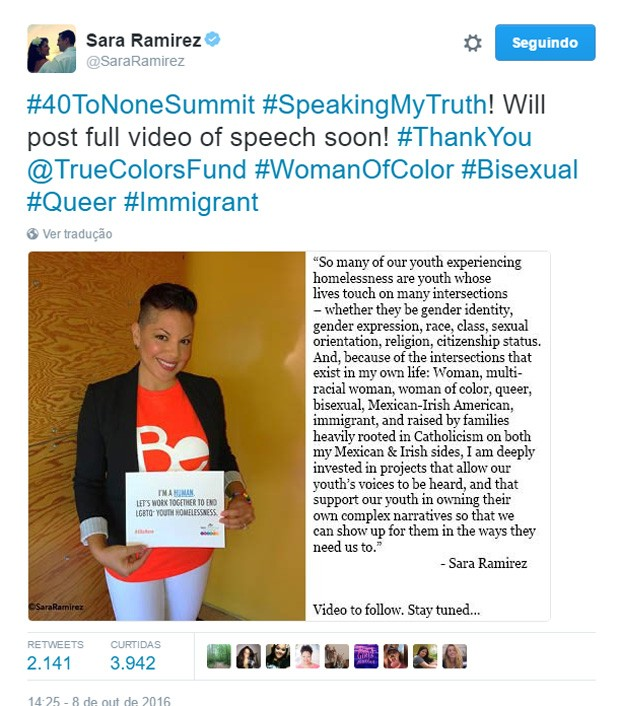 Sara Ramirez confirmou bissexualidade no Twitter (Foto: Reprodução/Twitter)