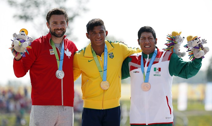 Isaquias Queiroz ficou com o ouro, Mark Oldershaw com a prata e Jose Cristobal com o bronze (Foto: Jeff Swinger-USA TODAY Sports)