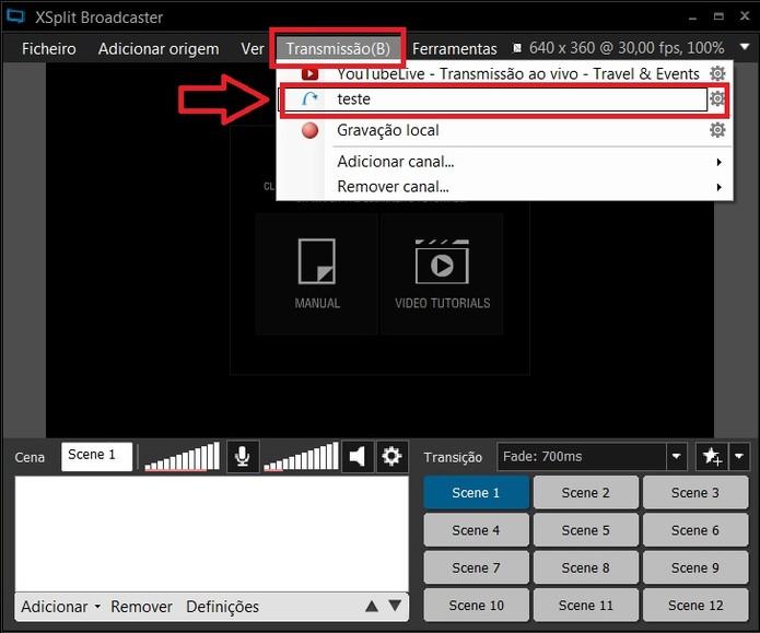 Em Transmissões, selecione o canal que você acabou de adicionar (Foto: Reprodução/Juliana Pixinine)