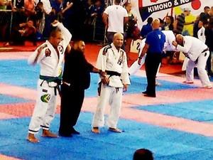 Liu durante uma das lutas que lhe deu o título de campeão (Foto: Arquivo pessoal)