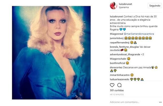 Luiza Brunet lamenta morte de Rogéria (Foto: Reprodução/Instagram)