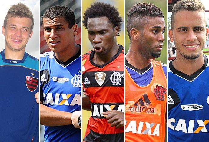Montagem Jogadores Flamengo - Thomás, Welinton, Negueba, Muralha e Rodolfo  (Foto: Editoria de arte)