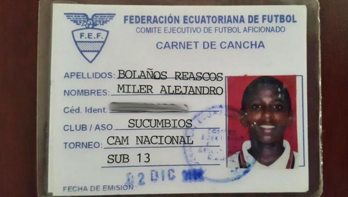 Miller Bolaños categorias de base Caribe Júnior Grêmio Equador (Foto: Arquivo Pessoal)