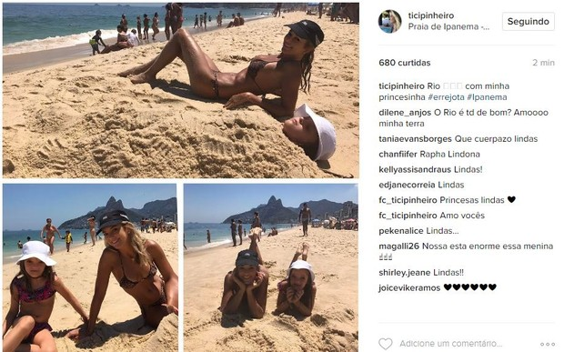 Ticiane Pinheiro e Rafaella Justus na praia de Ipanema, no Rio (Foto: Reprodução/Instagram)