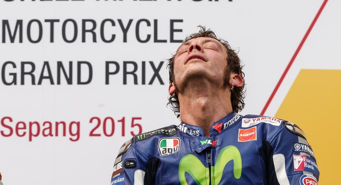 Valentino Rossi no pódio do GP da Malásia. Após polêmica, italiano chegou em 3º (Foto: Divulgação)