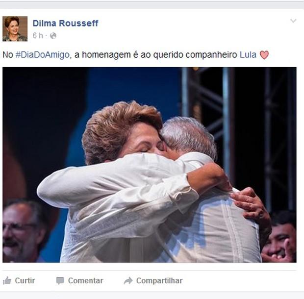 Publicação na página da presidente Dilma Roussef no facebook no Dia do Amigo (Foto: Divulgação / Facebook)