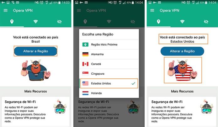 Altere a região no Opera VPN para celular (Foto: Reprodução/Barbara Mannara)