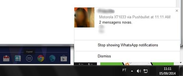 Mensagens do WhatsApp mostradas no computador (Foto: Reprodução/Raquel Freire)