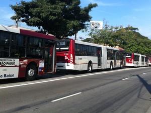 Ônibus parados no corredor na Estrada de Itapecerica (Foto: Letícia Macedo/G1)