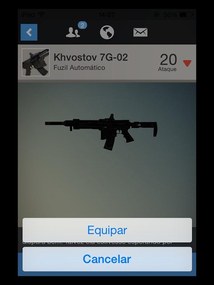 Equipe armas e itens (Foto: Reprodução/Murilo Molina)