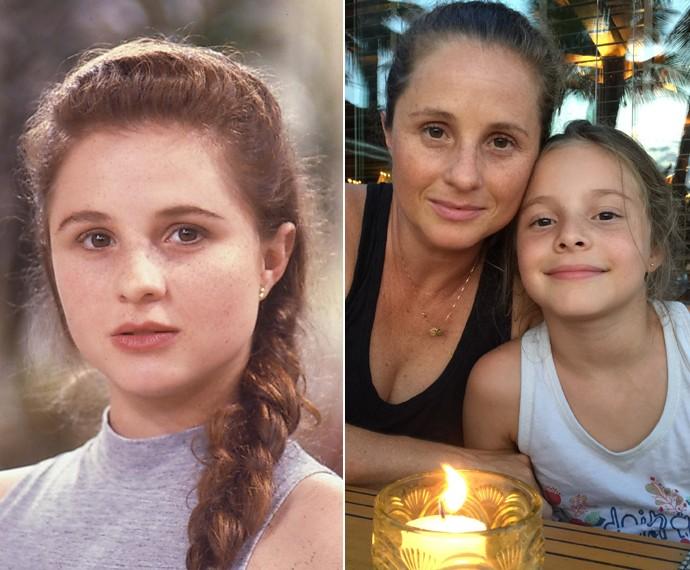Daniela Camargo quando atuava em Vamp e hoje, com sua filha Hanah (Foto: Cedoc / TV Globo / Arquivo Pessoal)