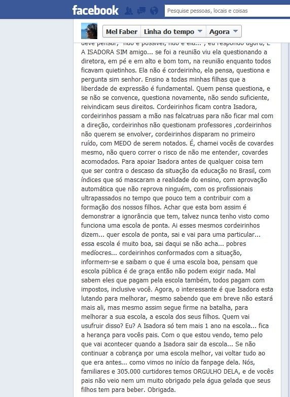 Mel Faber postou o depoimento em sua página no Facebook (Foto: Divulgação/Facebook)