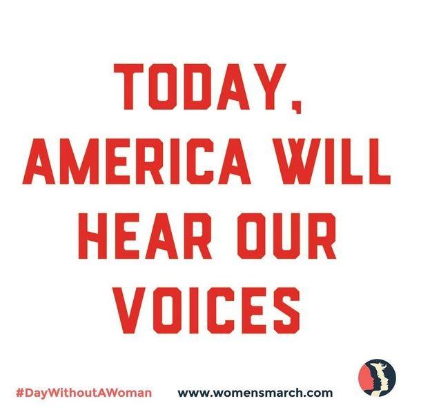 """""""Hoje a América irá ouvir as nossas vozes"""", diz o pôster da Women's March (Foto: Reprodução)"""