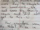 Menina diz que não fez lição de casa porque avô havia ganhado Nobel