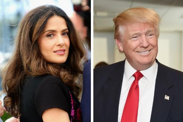 A atriz Salma Hayek e o empresário Donald Trump (Foto: Getty Images)
