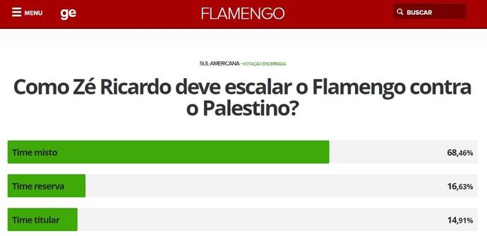 Maioria dos que votam escolheu time misto para o jogo com o Palestino (Foto: Reprodução)