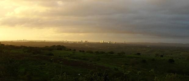 Pôr-do-sol marcou a chegada a Campina Grande (Foto: Maurício Melo/G1)
