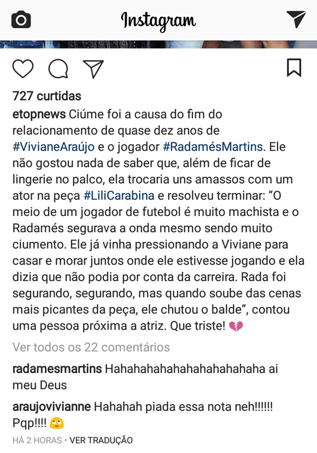Viviane Araújo responde publicação (Foto: Reprodução/Instagram)