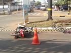 Ciclista trafegando na contramão fica ferido ao se chocar contra moto