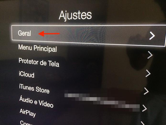 Acessando os ajustes gerais da Apple TV  (Foto: Reprodução/Marvin Costa)