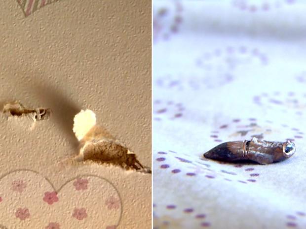 Bala atingiu teto, parede e caiu na cama de uma menina, num prédio perto da Protege, em Campinas (Foto: Reprodução / EPTV)