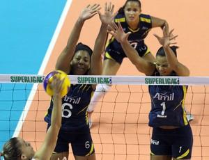 Ramírez e Walewska tentam bloqueio contra Pinheiros, pelas quartas de final (Foto: Felipe Christ / Amil)