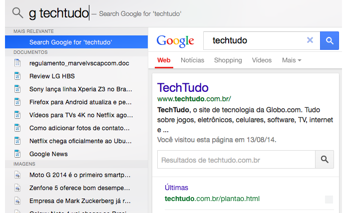 Com o app de buscas você pode abrir páginas do Google diretamente no Spotlight (Foto: Reprodução/Paulo Alves)