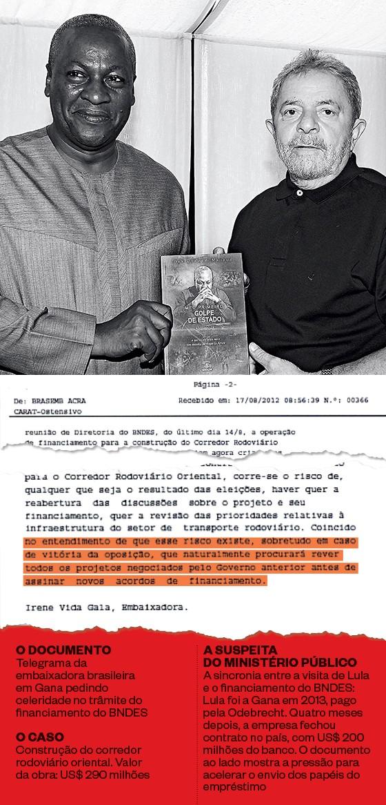 PRESTÍGIO O presidente de Gana, John Dramani Mahama, veio ao Brasil em 2014 para lançar seu livro Meu primeiro golpe de Estado. Aproveitou para visitar Lula e executivos da Odebrecht (Foto: Erika Santelices/AFP)