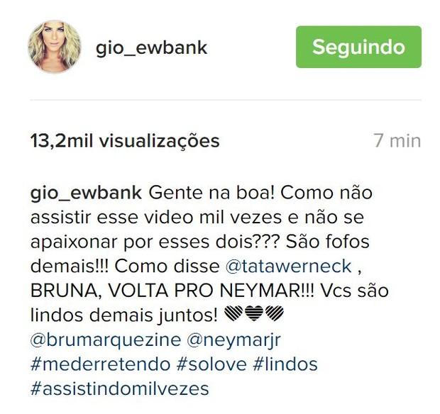 Giovanna Ewbank torce pela reconciliação de Bruna Marquezine e Neymar (Foto: Reprodução/Instagram)