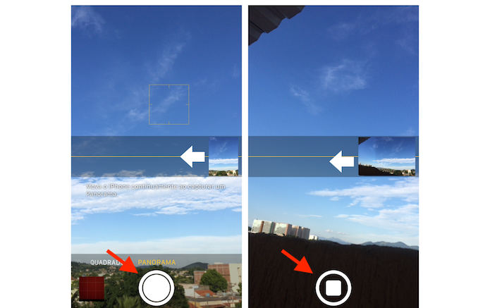 Fazendo uma foto panorâmica no iPhone 5S (Foto: Reprodução/Marvin Costa)