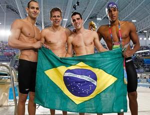 equipe brasil revezamento 4x100m livre Nicolas santos cesar cielo bruno fratus e nicolas oliveiras (Foto: Agência Reuters)