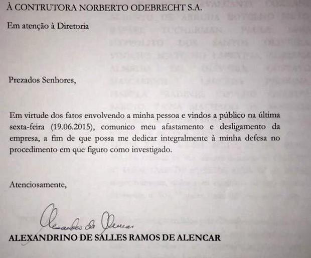 Carta de demissão do executivo da Odebrecht Alexandrino de Alencar