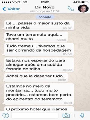 Adriana informou à irmã sobre o terremoto minutos depois do tremor (Foto: Adriana Faina/Divulgação)