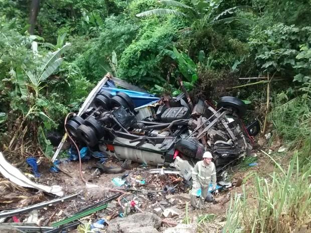 Motorista morreu após caminhão cair em ribanceira em São Sebastião (Foto: Divulgação/Polícia Ambiental)