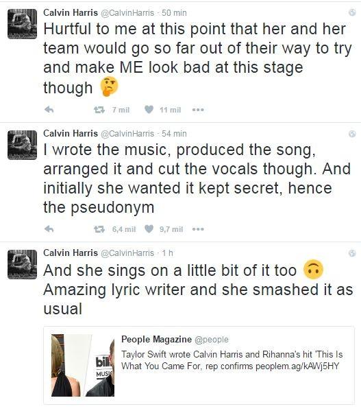 Calvin Harris alfineta Taylor Swift (Foto: Reprodução / Twitter)