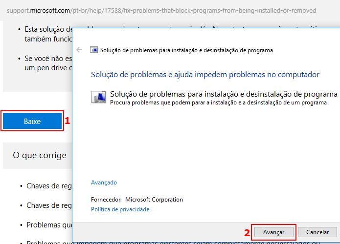 Baixando e executando a ferramenta de solução de problemas da Microsoft (Foto: Reprodução/Edivaldo Brito)