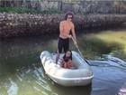David Luiz se despede após passeio de bote com a irmã e o sobrinho