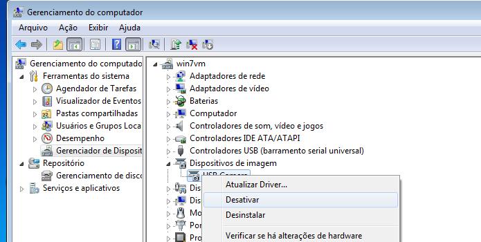 Desativando a Webcam no Gerenciador de dispositivo (Foto: Reprodução/Edivaldo Brito)